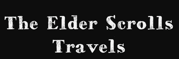 "Black colored banner with text ""The Elder Scrolls Travels"""