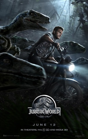 Jurassic World movie poster with Chris Pratt and his raptor gang.