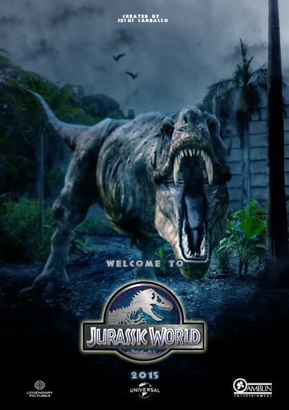 Image of the Jurassic World movie poster featuring a T-Rex