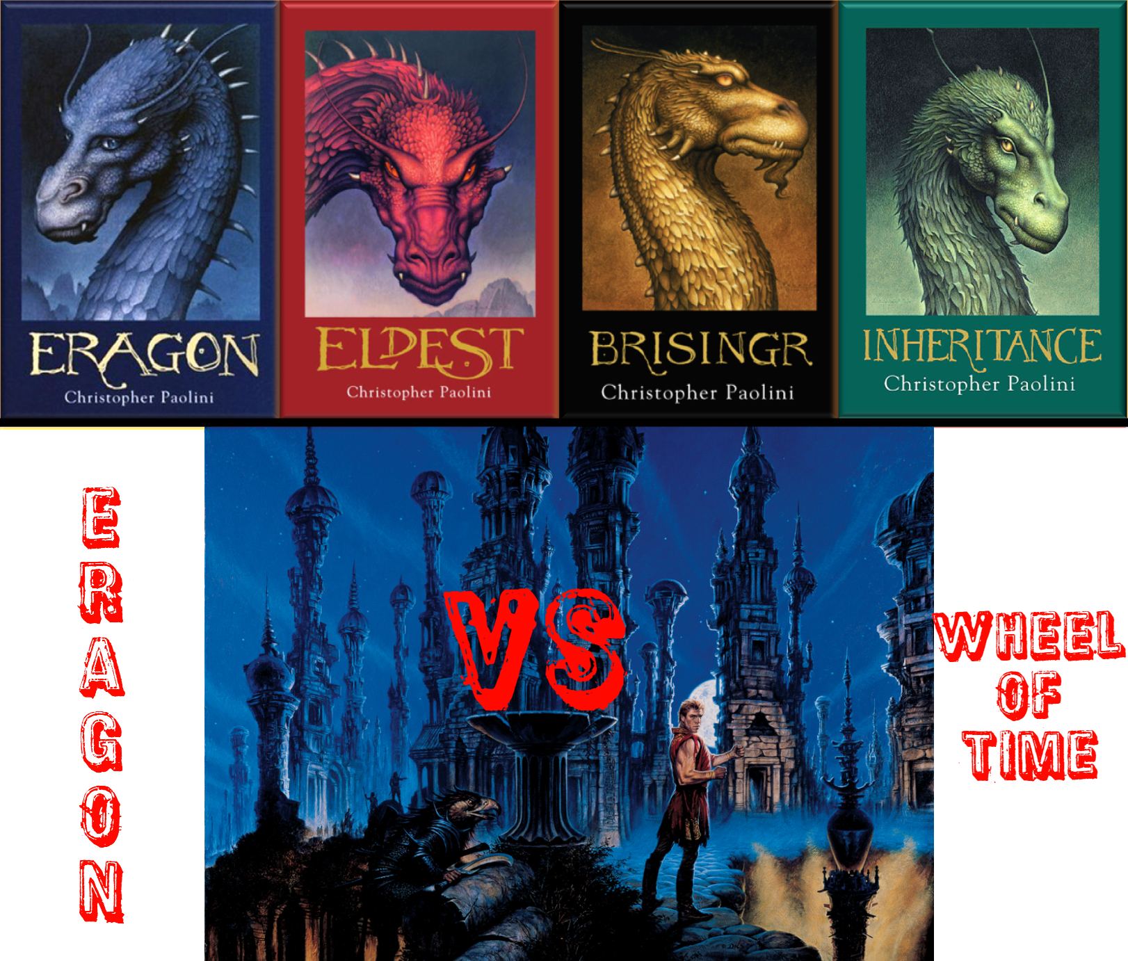 "Image of Eragon and Wheel of Time book covers with text ""Eragon vs Wheel of Time"""