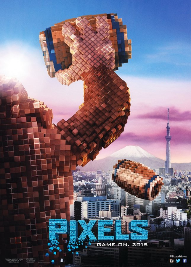 Image of donkey kong throwing a barrel on the Pixels movie poster.
