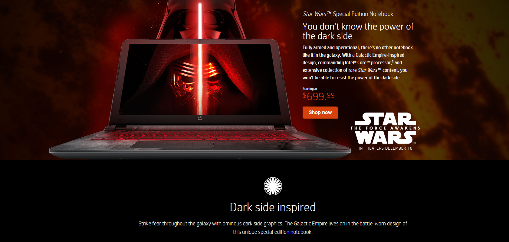 Image of a Star Wars themed laptop made by HP.