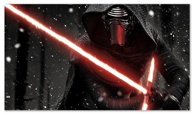 Image of Kylo Ren with his trademark damaged lightsaber.