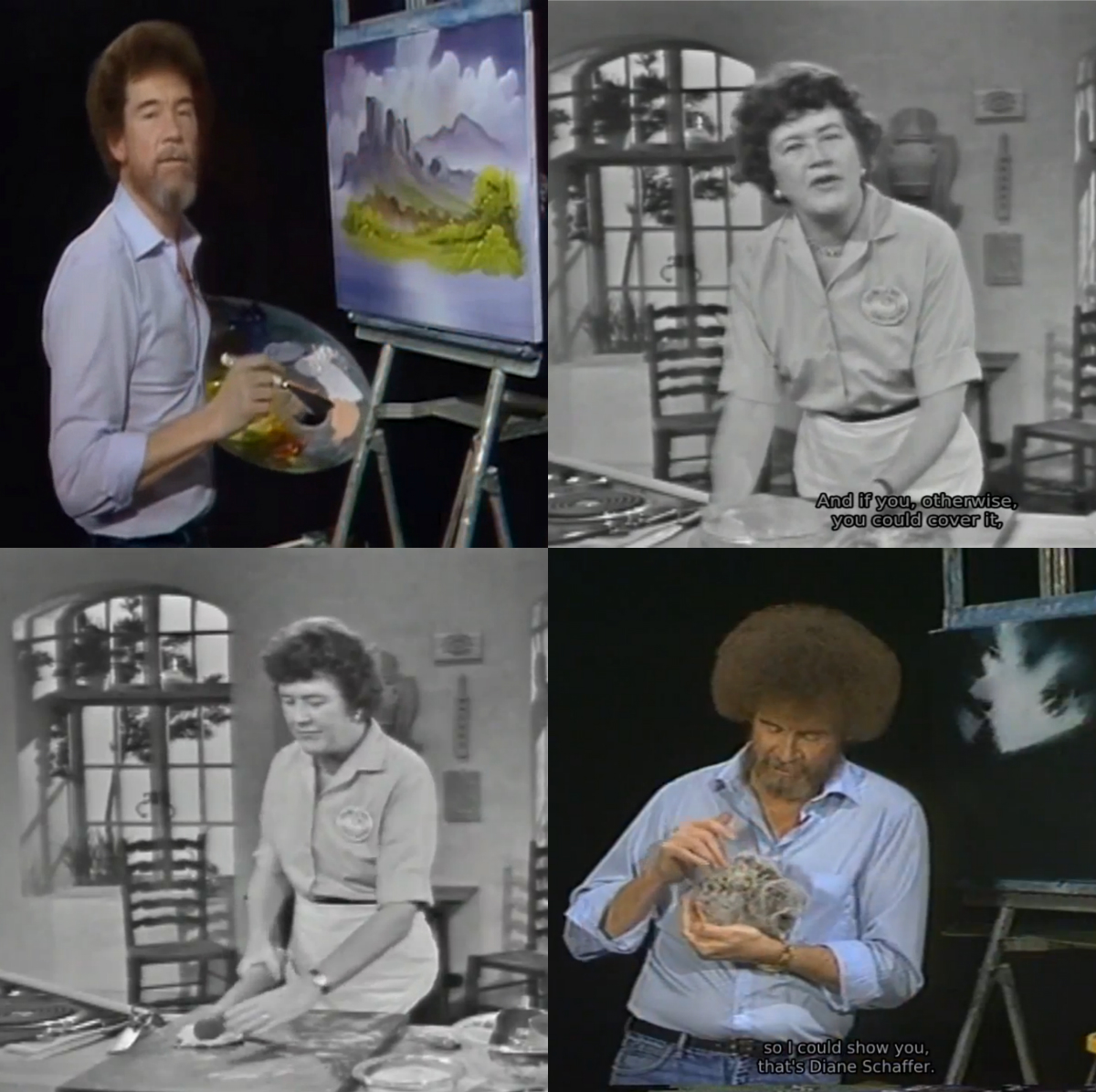 """A collage of images of Julia Child and Bob Ross taken from their shows 'The Joy of Painting' and """"The French Chef""""."""