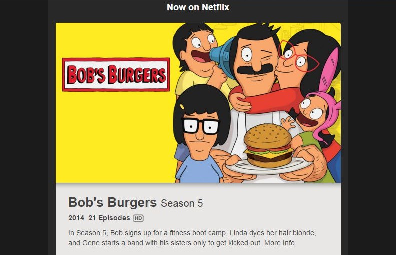 A screen capture of Netflix's automatic reminder that Bobs Burgers season 5 is available.