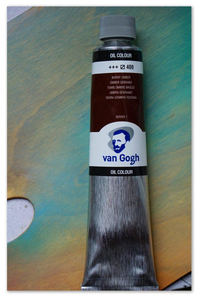 Image of a tube of Burnt Umber van Gogh oil paint