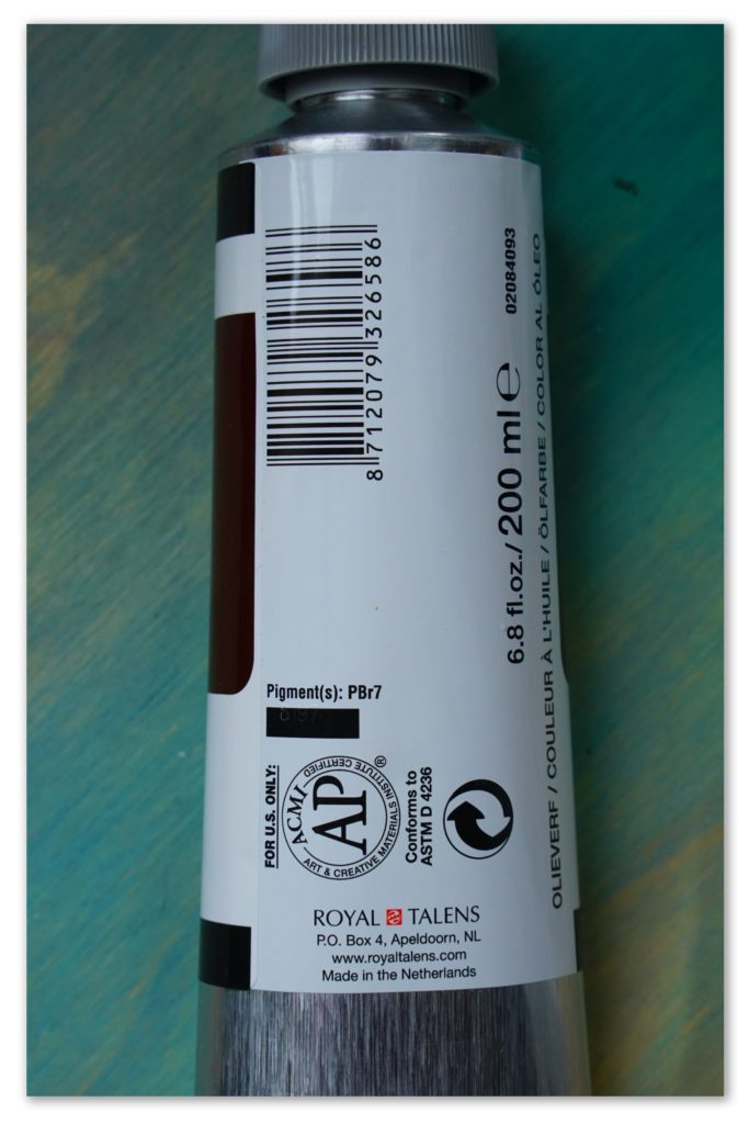 Image of the backside of a tube of Burnt Umber van Gogh oil paint
