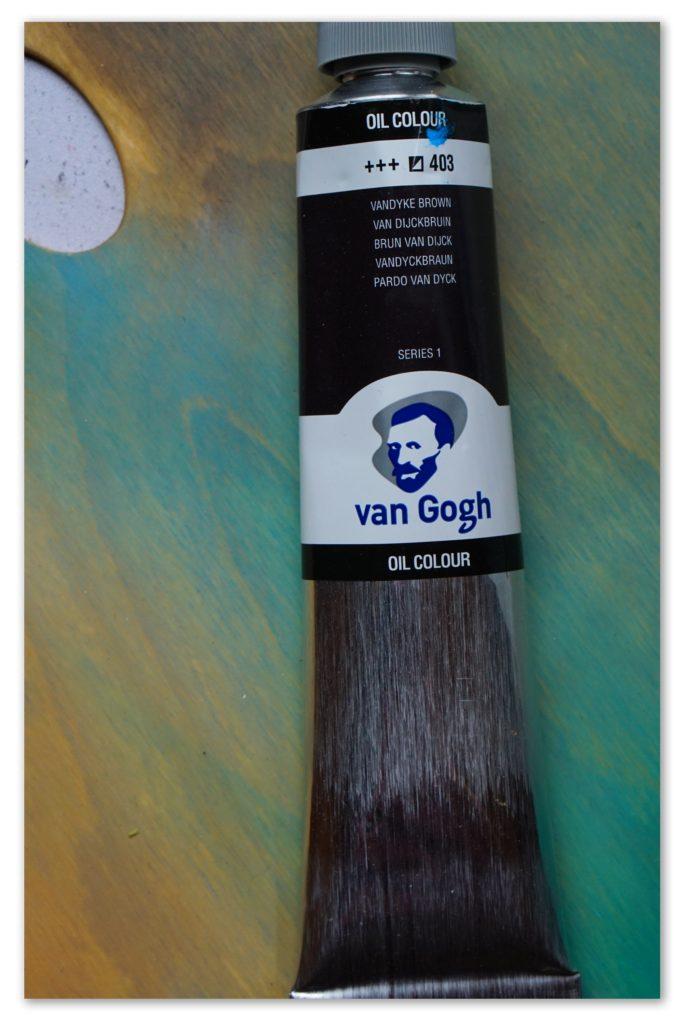 Image of a tube of Vandyke Brown van Gogh oil paint