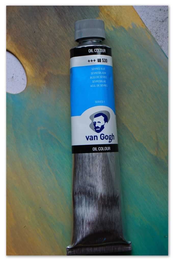 Image of a tube of Sevres Blue van Gogh oil paint