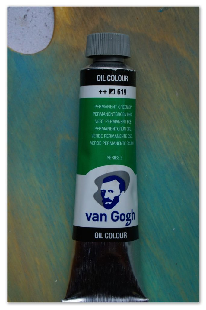 Image of a tube of Permanent Green van Gogh oil paint