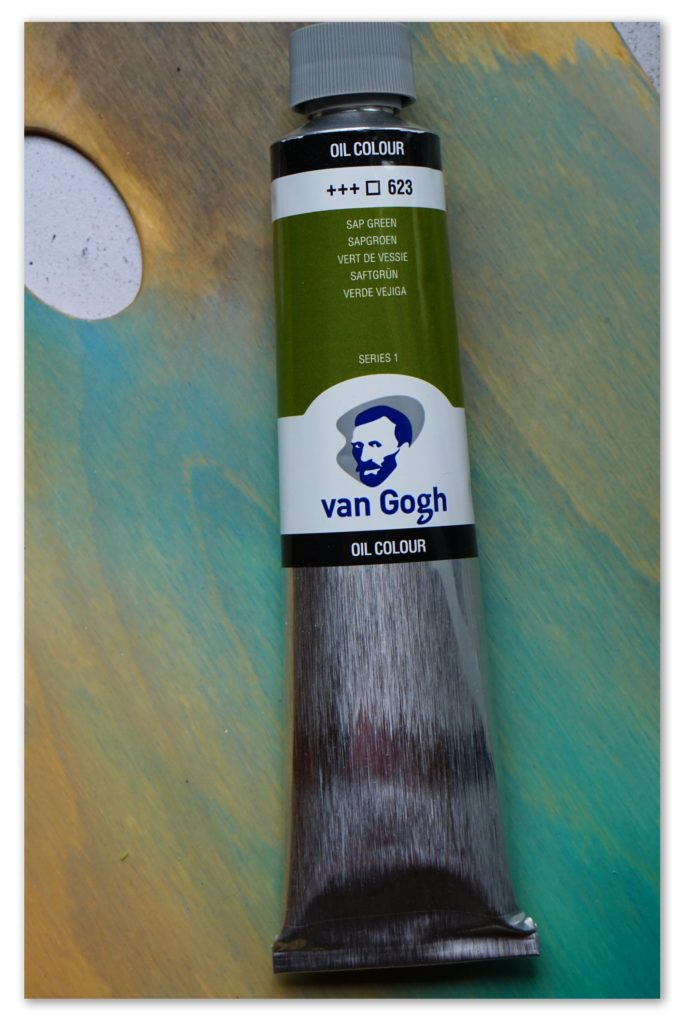Image of a tube of Sap Green van Gogh oil paint