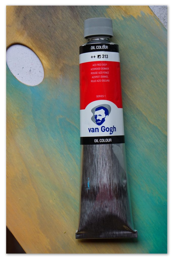 Image of a tube of Azo Red Deep van Gogh oil paint