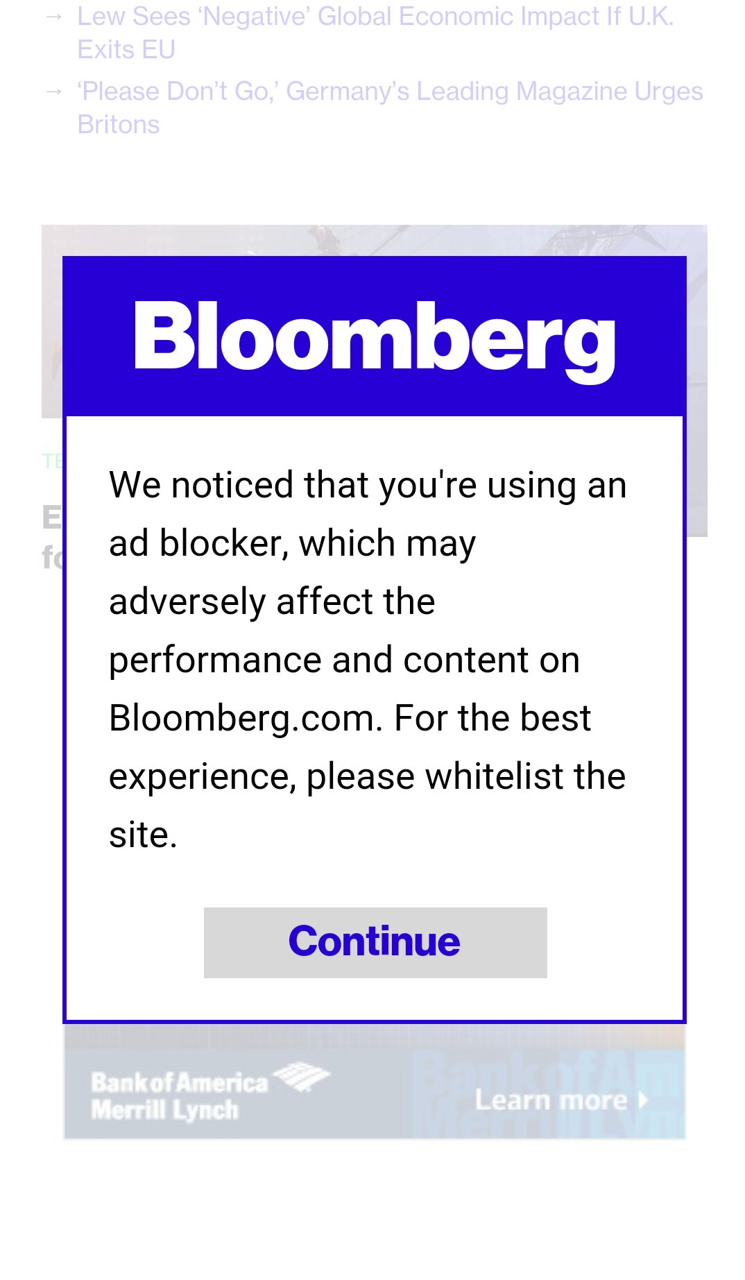 A screenshot of a Bloomberg popup