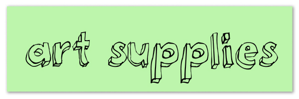 """Image of green banner with text """"art supplies"""""""