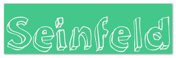 "Mint green banner with text ""Seinfeld"""