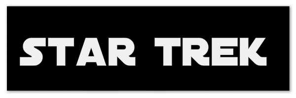 "Black banner with text ""Star Trek"""