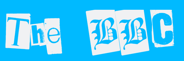 "Blue colored banner with text ""The BBC"""