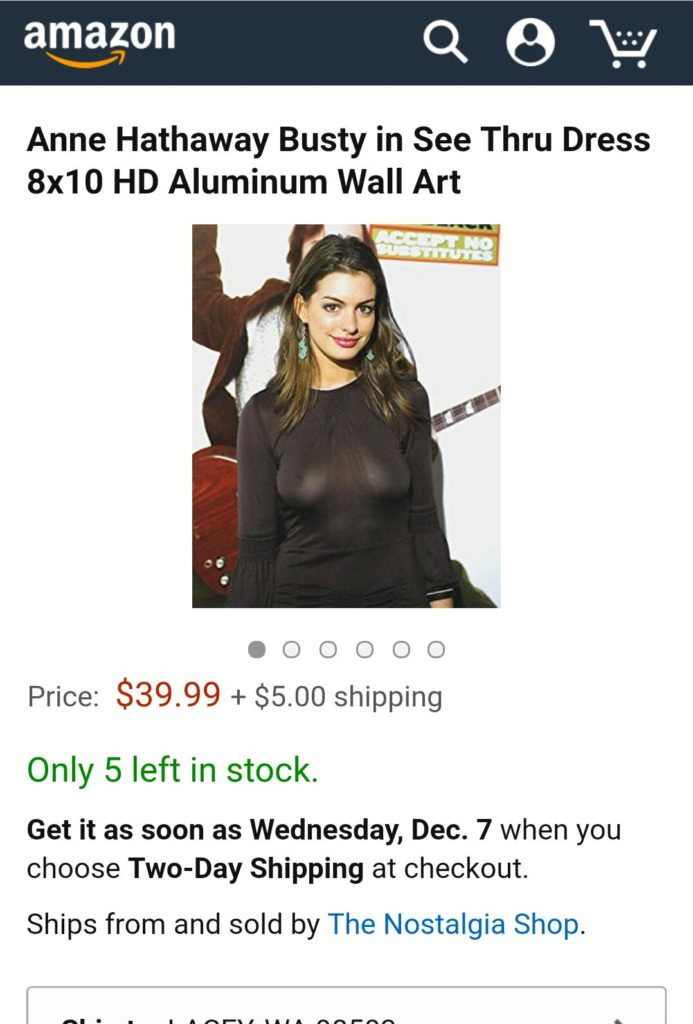 Screenshot of an art print of Anne Hathaway in a see through dress on Amazon