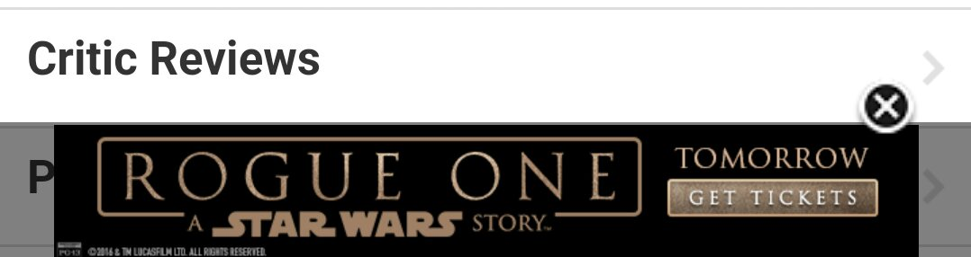Image of a Star Wars Rogue One advertisement on IMDB.com