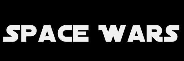 "Black colored banner with text ""Space Wars"""