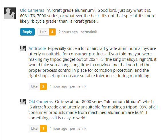 Screenshot of photography website comments.