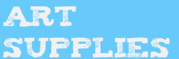 "Blue colored banner with text ""Art Supplies"""