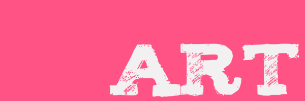 "Pink colored banner with text ""art"""