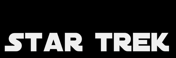 "Black colored banner with text ""Star Trek"""